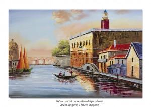 poza Peisaj din Venetia (1), stilizat - 90x60cm ulei pe panza in cutit efect 3D, Superb!