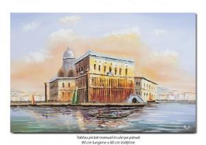 poza Gondola la Venetia (6) - 90x60cm ulei in cutit efect 3D, Superb!