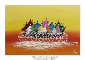 Poza Tablou modern abstract - Cursa ciclista (2) - 90x60cm ulei pe panza, Spectaculos!