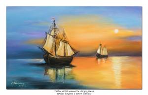 poza Apus de soare cu veliere - 100x60cm pictat manual in ulei pe panza, Spectaculos!