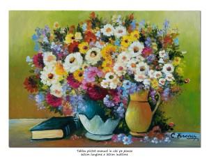 poza Tablou living, dormitor - Flori multicolore si carte - 70x50cm ulei pe panza, MAGISTRAL!