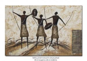 poza Aborigeni - tablou modern african 90x60cm, ulei pe panza in relief, Spectaculos!