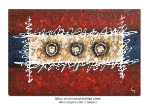 poza Tablou modern - Compozitie abstracta (3) - ulei pe panza 90x60cm, Fabulos!