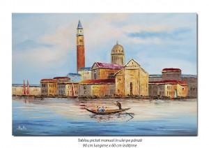 Gondola la Venetia - 90x60cm ulei in cutit efect 3D, Superb!
