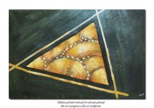 Tablou modern - Triunghi - 90x60cm ulei pe panza in relief, efect 3D