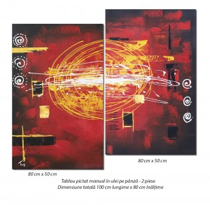 poza Tablou 2 piese - Abstract deco (1) - 100x80cm ulei pe panza in relief, Spectaculos!