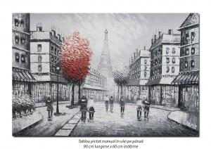 poza Tablou living, dormitor - Peisaj parizian (3) - 90x60cm ulei in cutit efect 3D, Spectaculos!