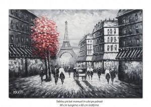 Parisul interbelic (1), stilizat - 90x60cm ulei in cutit efect 3D, Spectaculos!