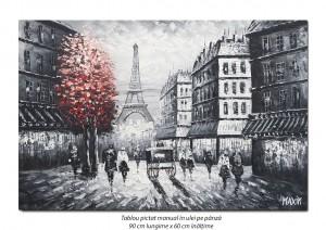 poza Parisul interbelic (3), stilizat - 90x60cm ulei in cutit efect 3D, Spectaculos!