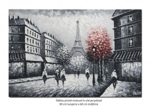 Paris - vedere turnul Eiffel (2), stilizat - 90x60cm ulei in cutit efect 3D, Spectaculos!