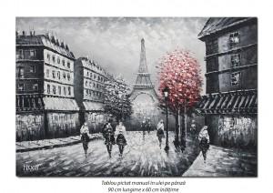 poza Paris - vedere turnul Eiffel (3), stilizat - 90x60cm ulei in cutit efect 3D, Spectaculos!