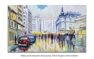 poza Bucurestiul interbelic - Strada Ion Campineanu - 100x60cm pictura ulei pe panza, Magistral!