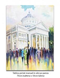 Poza Bucurestiul interbelic - La Ateneu - 70x50cm pictura ulei pe panza, Magistral!