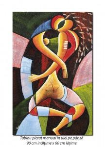 Poza Sarut (1) - 90x60cm tablou modern cubist, ulei pe panza, Superb!