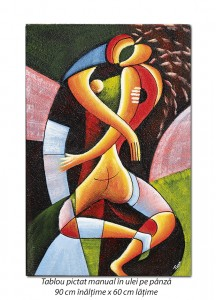 poza Sarut (3) - 90x60cm tablou modern cubist, ulei pe panza, Superb!