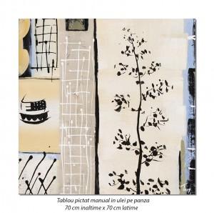 poza Decor japonez (1) - 70x70cm tablou modern ulei pe panza, Superb!