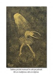 poza Balerina stilizata (2) - 90x60cm tablou modern ulei pe panza in relief, efect 3D, Spectaculos!