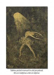 poza Balerina stilizata (3) - 90x60cm tablou modern ulei pe panza in relief, efect 3D, Spectaculos!