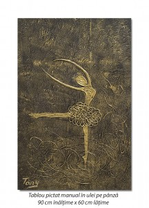 poza Balerina stilizata (4) - 90x60cm tablou modern ulei pe panza in relief, efect 3D, Spectaculos!