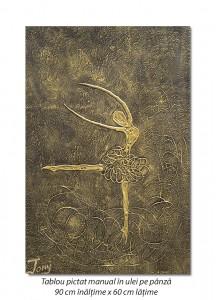 poza Balerina stilizata (5) - 90x60cm tablou modern ulei pe panza in relief, efect 3D, Spectaculos!