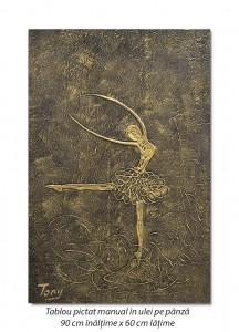 poza Balerina stilizata (6) - 90x60cm tablou modern ulei pe panza in relief, efect 3D, Spectaculos!