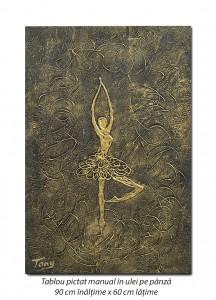 poza Balerina stilizata (7) - 90x60cm tablou modern ulei pe panza in relief, efect 3D, Spectaculos!