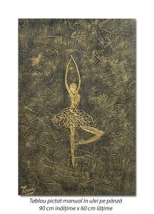 Poza Balerina stilizata (9) - 90x60cm tablou modern ulei pe panza in relief, efect 3D, Spectaculos!
