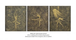 poza Gratie, balerine stilizate - tablou set 3 piese 150x60cm - efect 3D, Spectaculos!