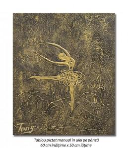 poza Gratie, tablou balerina (1) - 60x50cm ulei pe panza in relief, efect 3D, Spectaculos!