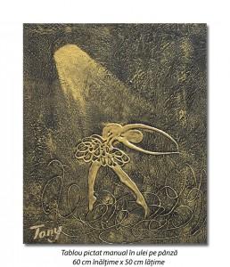 poza Gratie, tablou balerina (4) - 60x50cm ulei pe panza in relief, efect 3D, Spectaculos!