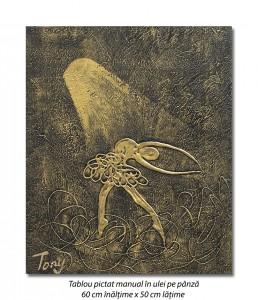 poza Gratie, tablou balerina (3) - 60x50cm ulei pe panza in relief, efect 3D, Spectaculos!