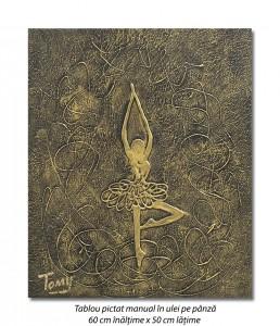poza Gratie, tablou balerina (6) - 60x50cm ulei pe panza in relief, efect 3D, Spectaculos!