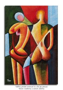 poza You and me (2) - 90x60cm tablou modern cubist, ulei pe panza, Superb!