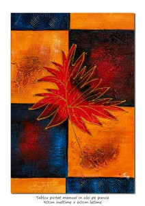 Tablou modern abstract - Frunza (4) - ulei panza in relief 90x60cm