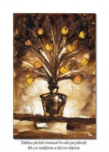 poza Vaza cu flori - 90x60cm tablou modern in relief, efect 3D, Spectaculos!