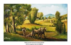 Poza La arat - 100x60cm pictura peisaj ulei pe panza, Superb!