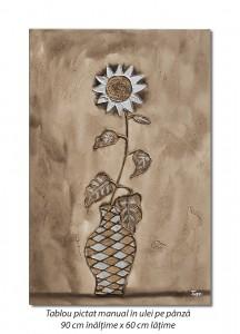 poza Floarea soarelui stilizata - 90x60cm ulei in relief efect 3D, Superb!