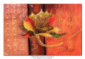 poza Floare moderna abstracta (2) - ulei pe panza, 90x60cm, efect 3D, Superb!