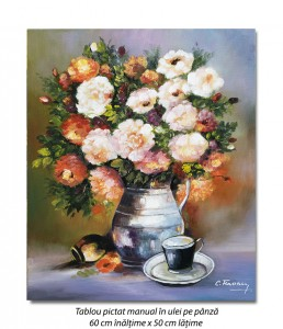 poza Invitatie la o cafea - 60x50cm tablou floral ulei pe panza, Magistral!