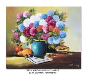 Poza Natura statica cu flori si fructe - 60x50cm pictura ulei pe panza, Superb@