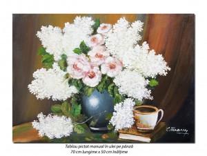 poza Aranjament cu liliac alb - 70x50cm pictura ulei pe panza, rafinat!