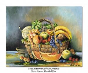 poza Cos cu fructe - pictura 50x40cm ulei pe panza, Magistral!