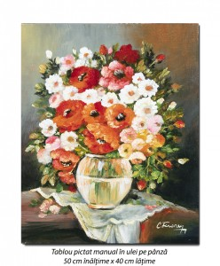 Adoratele mele (4) - pictura flori 50x40cm ulei pe panza, Magistral!