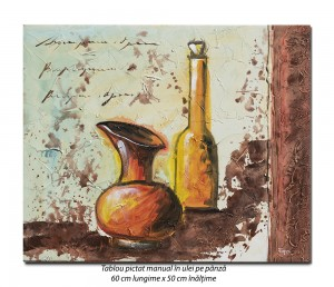 Antic (3) - tablou modern 60x50cm ulei pe panza in relief