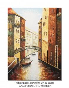 poza Tablou GIGANT - Canal venetian (2), stilizat - 120x90cm ulei pe panza in cutit efect 3D, Spectaculos!