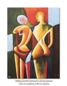 poza You and me (2) - tablou GIGANT modern cubist 120x90cm, ulei pe panza, Superb!