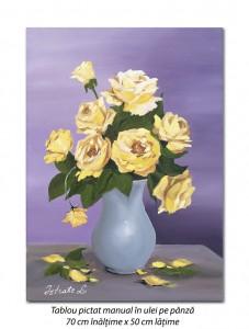poza Trandafiri galbeni imperiali - 70x50cm pictura ulei pe panza, Superb!
