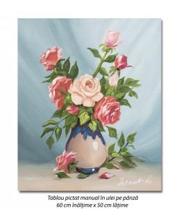 poza Aranjament cu trandafiri - 60x50cm pictura ulei pe panza, Superb!