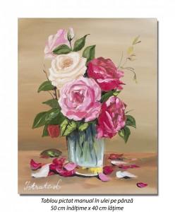 poza Aranjament cu trandafiri - 50x40cm tablou ulei pe panza, Superb!