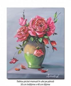 poza Ulcica cu trandafiri - 50x40cm tablou ulei pe panza, Superb!